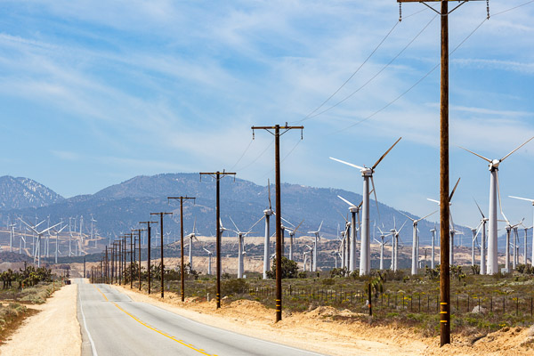 utility power lines and wind turbines