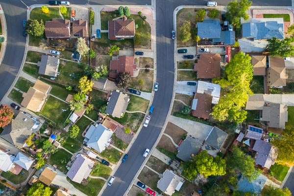 Suburban neighborhood from above
