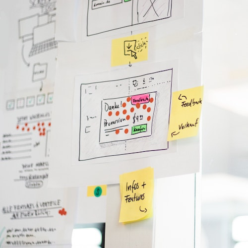 Image of whiteboard with Agile sticky notes