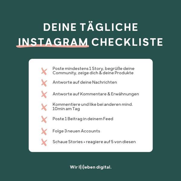 Eine tägliche Instagram Checkliste von Projekt Digital.