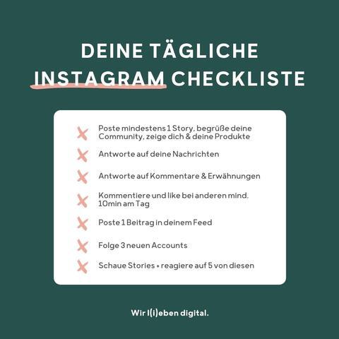 tägliche Instagram Checkliste