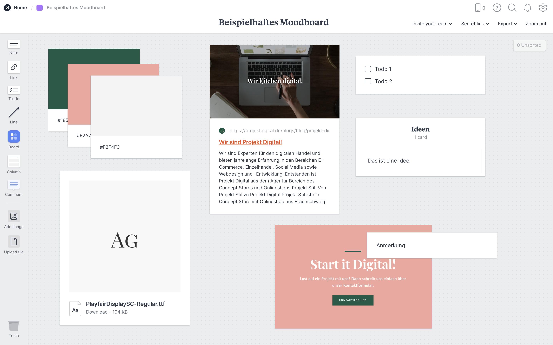 Milanote Moodboard Beispiel von Projekt Digital