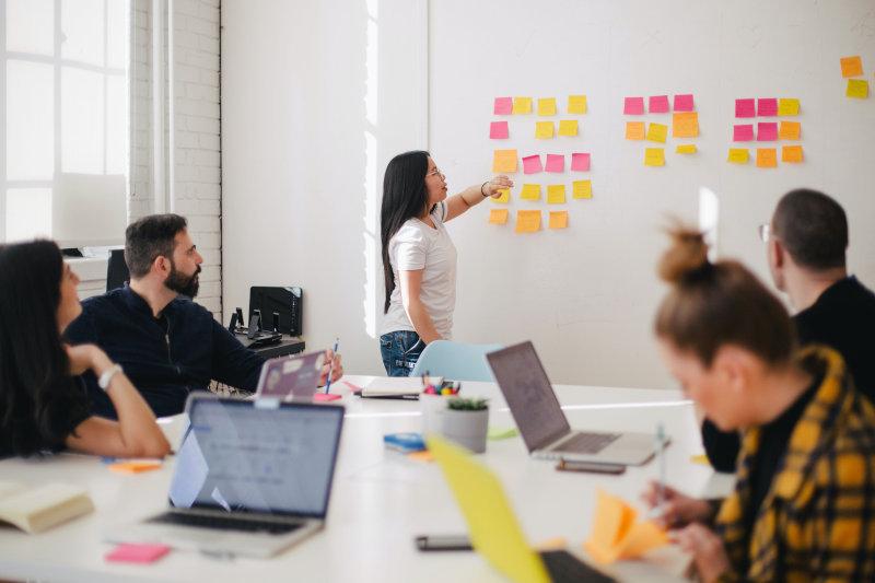 Ein Team entwickelt Ideen an einem Whiteboard mit Hilfe von Kreativittstechniken.