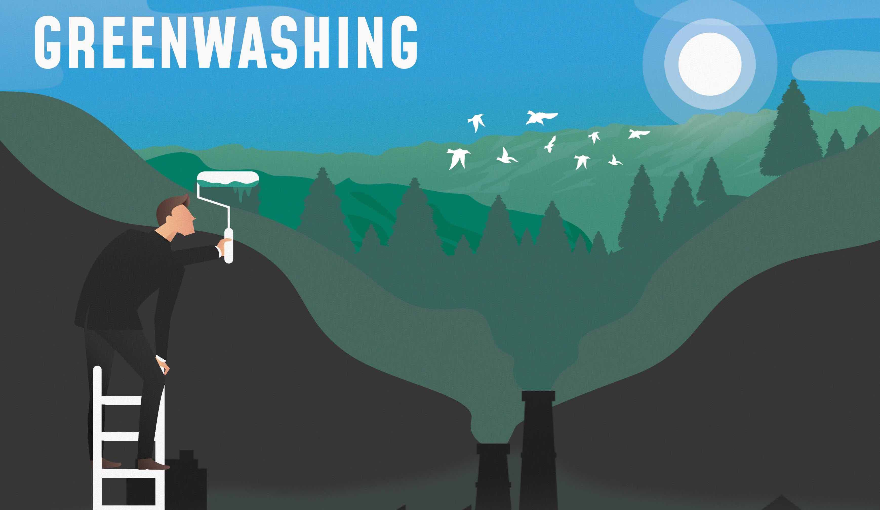 A cover image showing someone painting over the smoke from a factory, visualising the word 'greenwashing'.