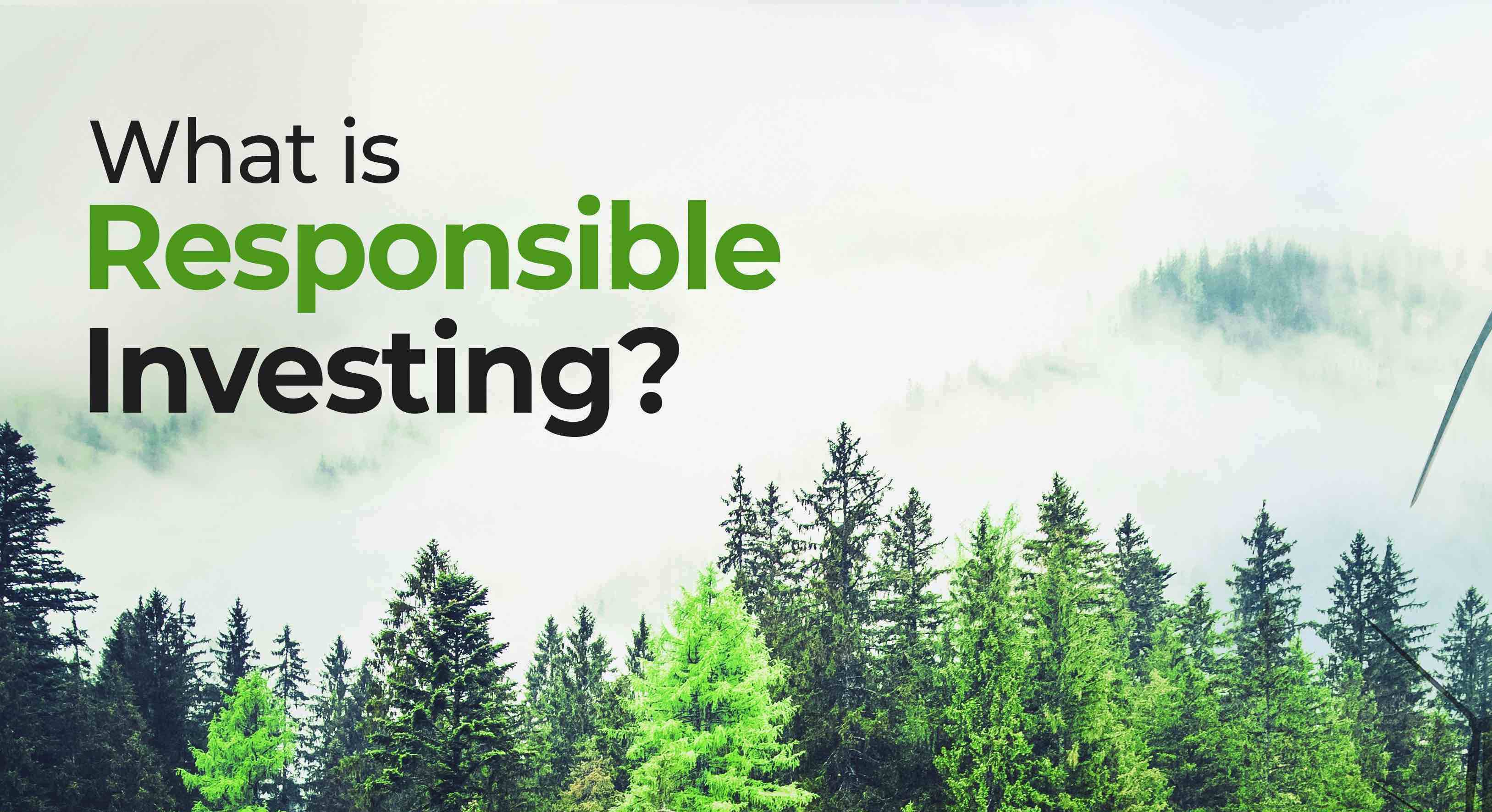 """An image showing some trees and a grey sky, with on top of it some text saying: """"What's responsible investing?"""""""