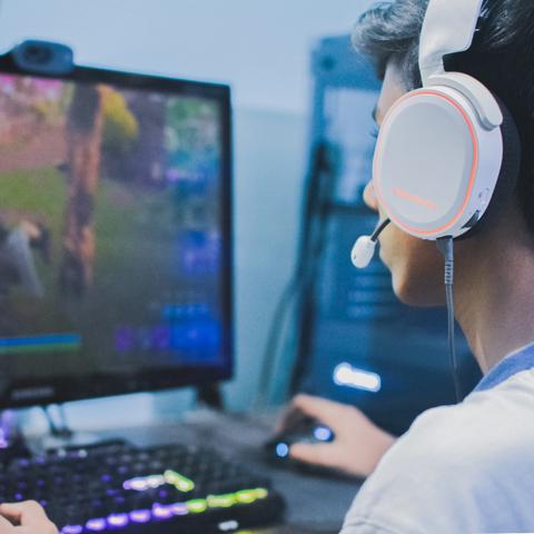 Man playing computer games