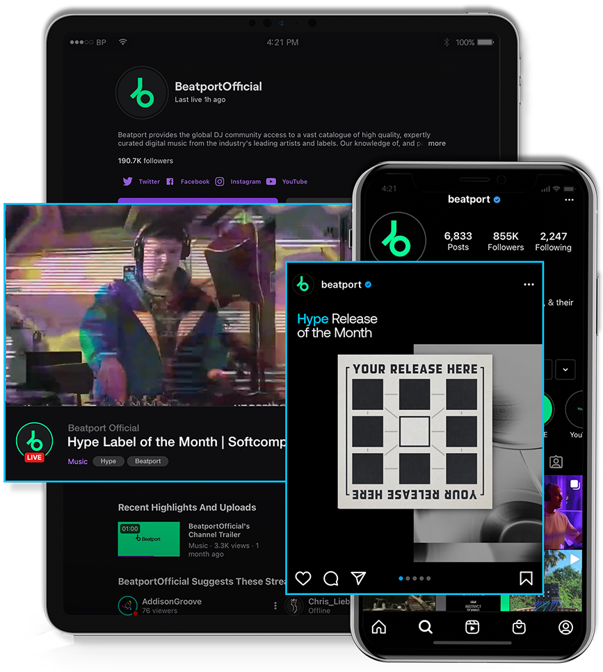 Beatport social media features for hype releases