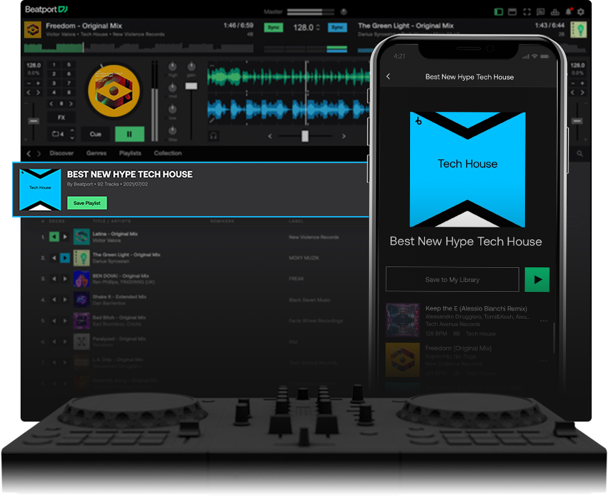 Hype playlists on Beatport LINK devices
