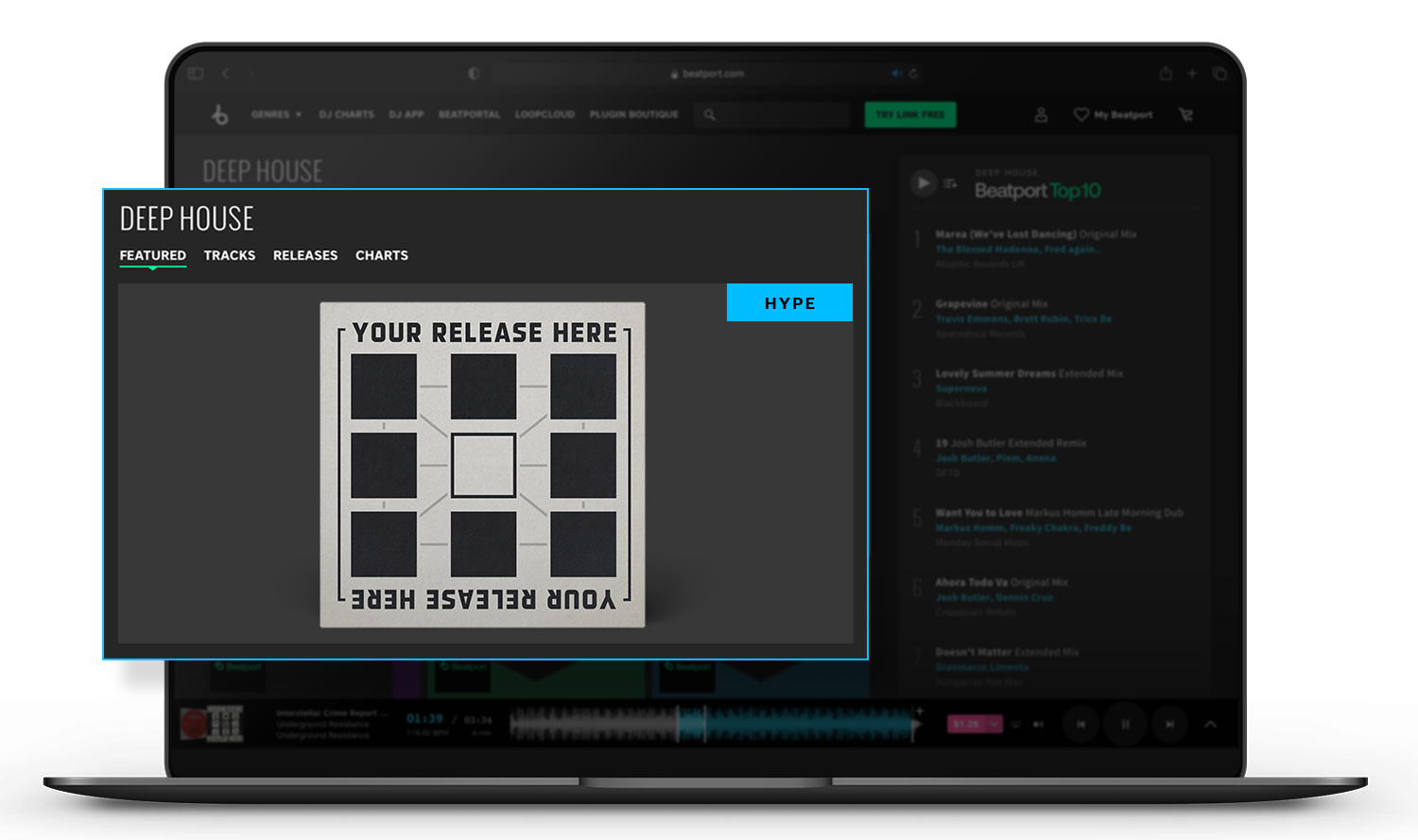 Beatport genre page feature space for Hype releases