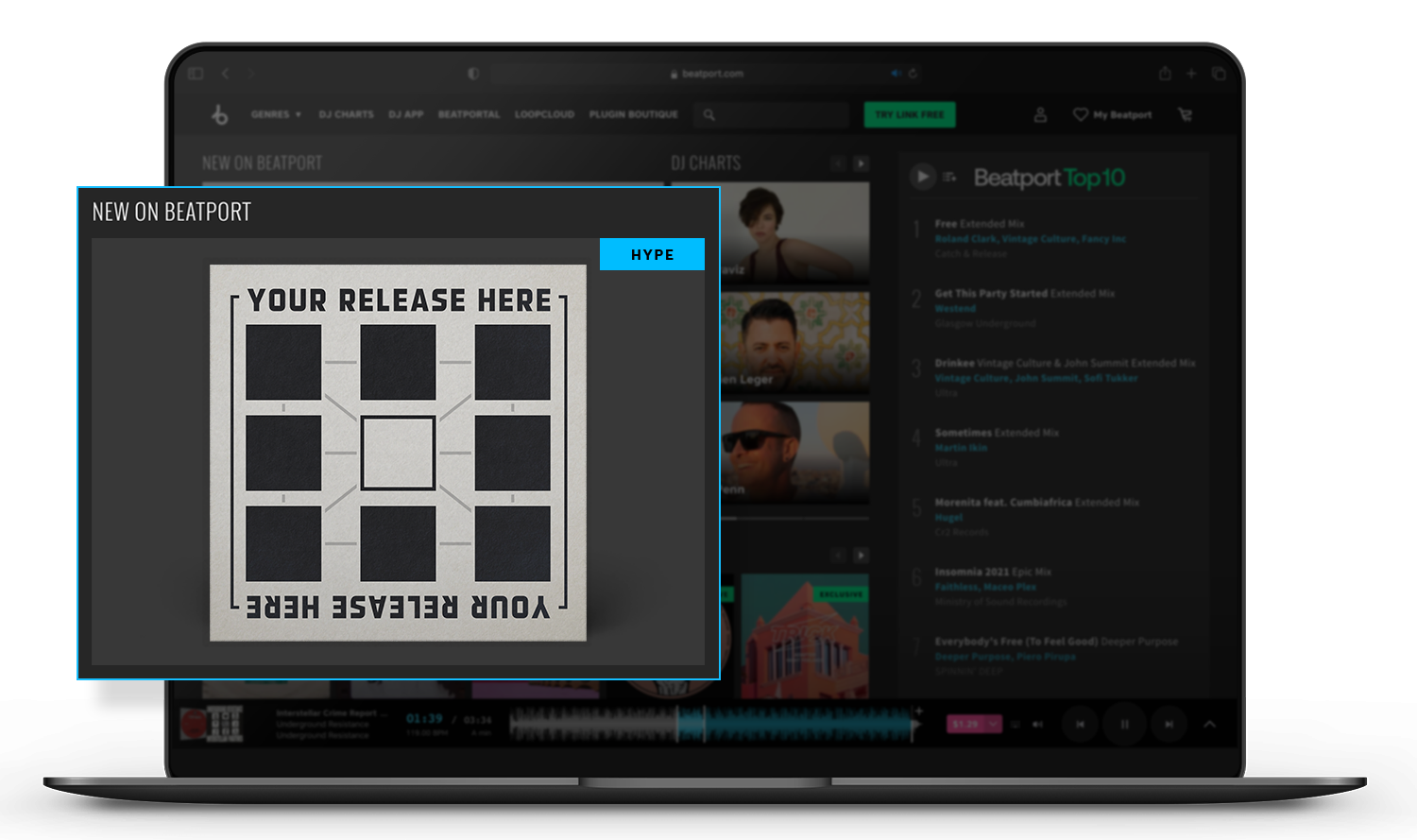 Beatport homepage feature space for hype releases