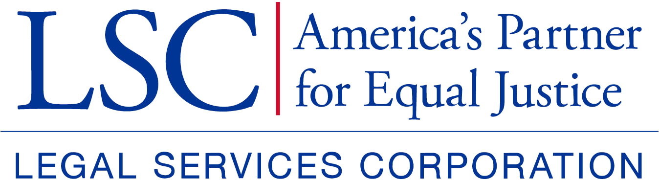 Logo for Legal Services Corporation with a tagline of: America's Partner for Equal Justice