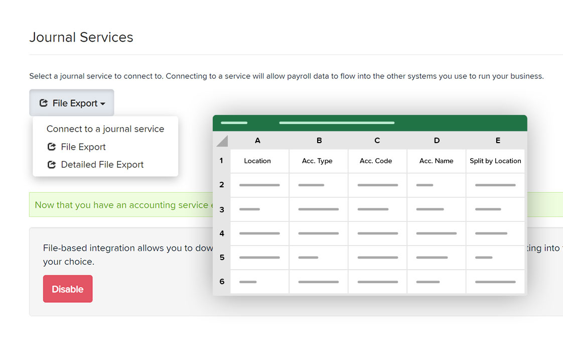 journal services screen