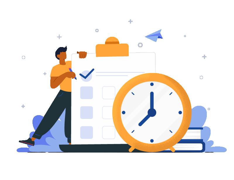 Save time image - Checklist and clockwork