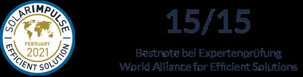 SolarImpulse February 2021 Efficient Solution Certification, 15/15 Bestnote bei Expertenprüfung World Alliance for Efficient Solutions