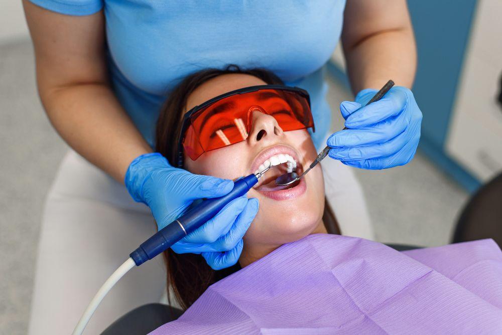 lady getting her teeth cleaned