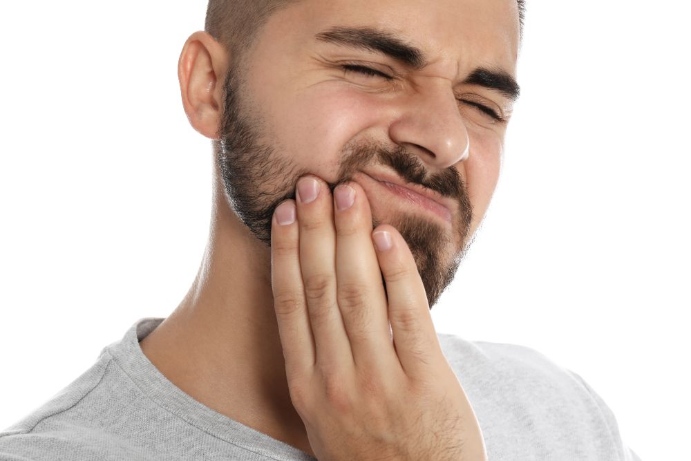 man with hurt jaw