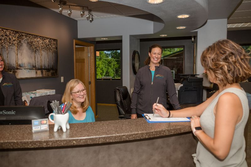 front desk signing in patient