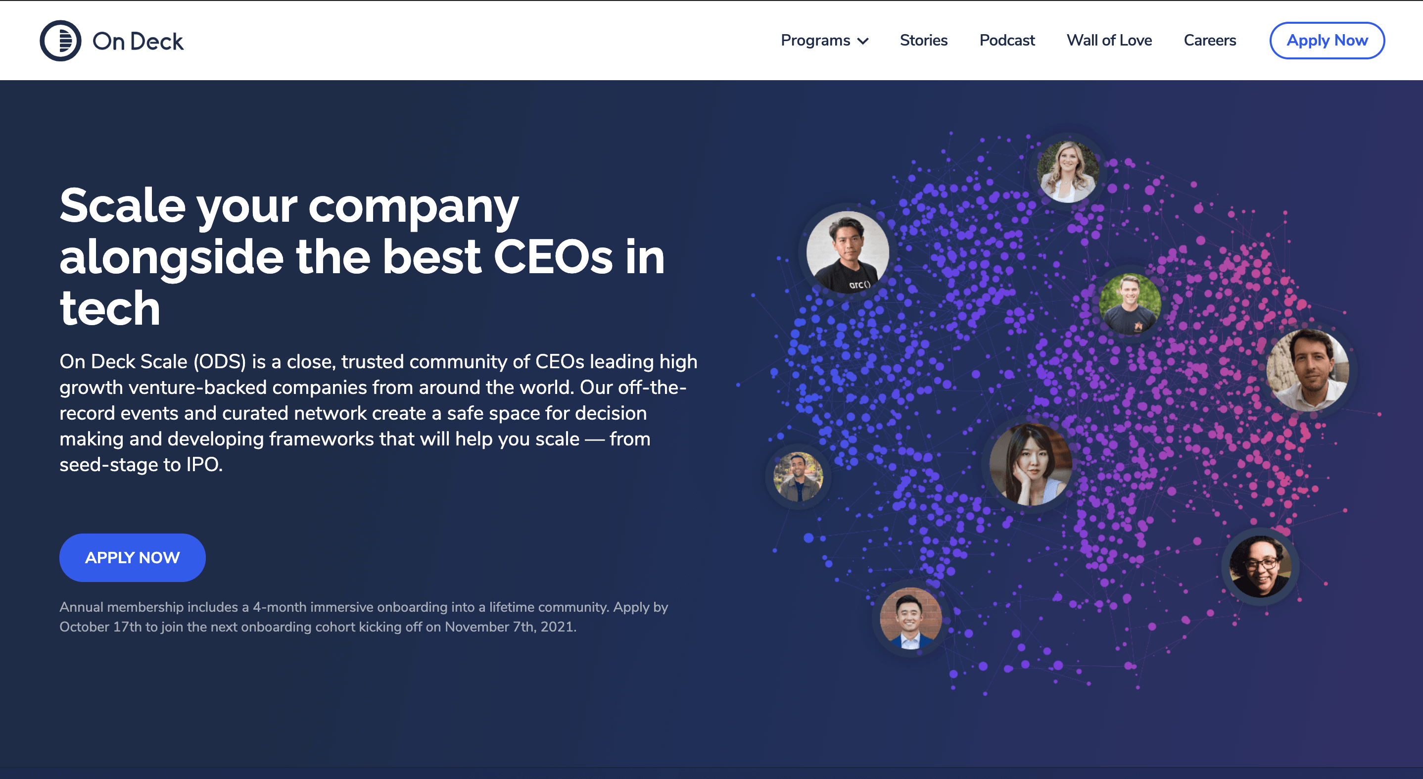 Landing page for On Deck that we built