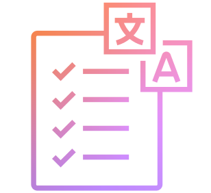 Large purple and orange icon consisting of a checklist with letter characters in a box