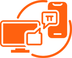 Orange phone and computer icon with speech bubbles in between