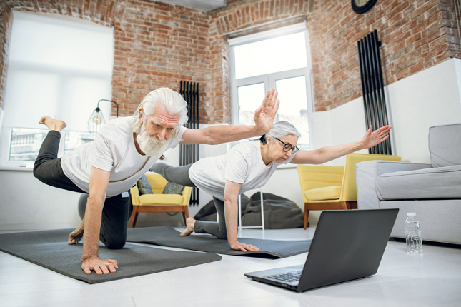 Senior couple stretching in front of computer using telehealth exercises