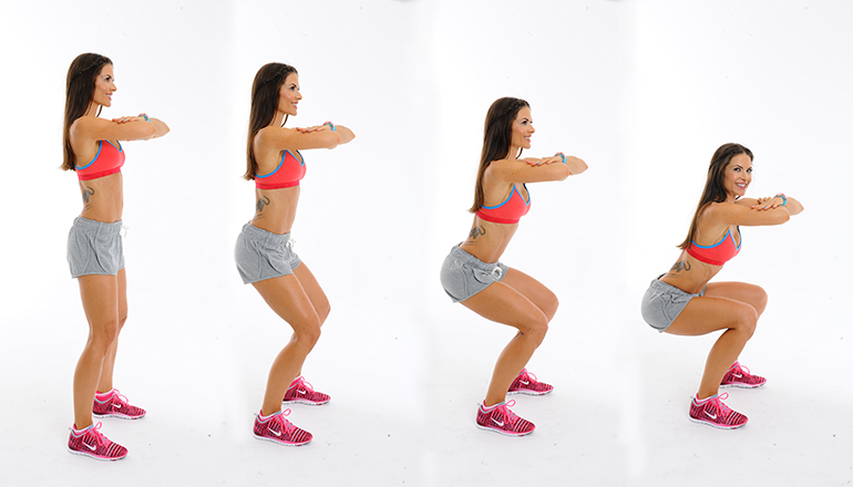 Woman demonstrating squat positions