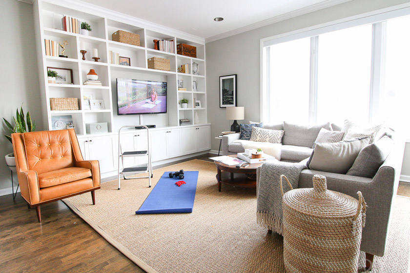 Comfortable living room set up for telehealth