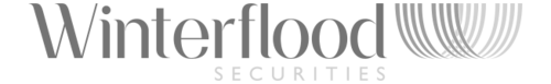 A black and white version of Winterflood Securities Logo