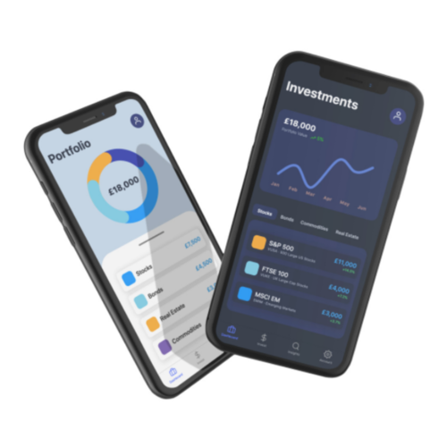 Two smartphones showing the Wealthyhood app, one shows a portfolio summary page and the other shows an investment summary page