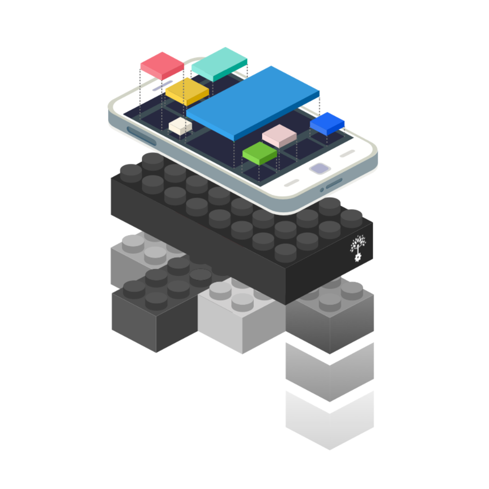 A graphical illustration showing a smartphone, below the phone sits a series of modular blocks representing the WealthKernel platform powering the back-end