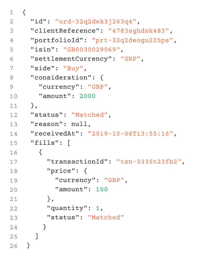 An example of an API call via the WealthKernel API.