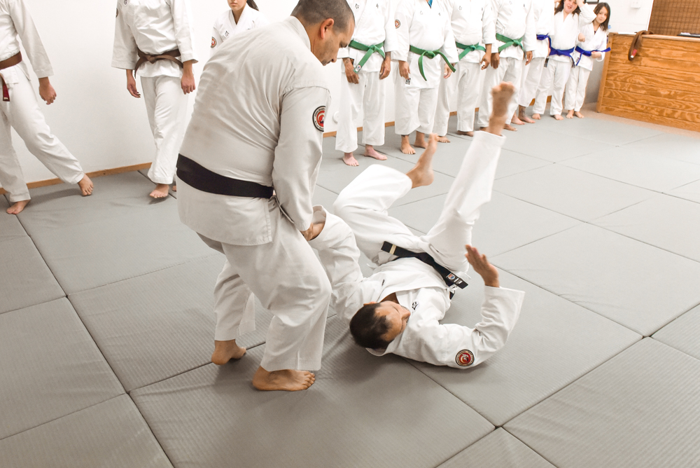 An NGA Black Belt student is seen demonstrating a Peel Off technique during his participation in an attack line session.