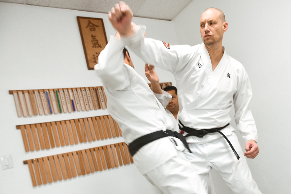 Two NGA Black Belts demonstrate defensive options for straight punches.