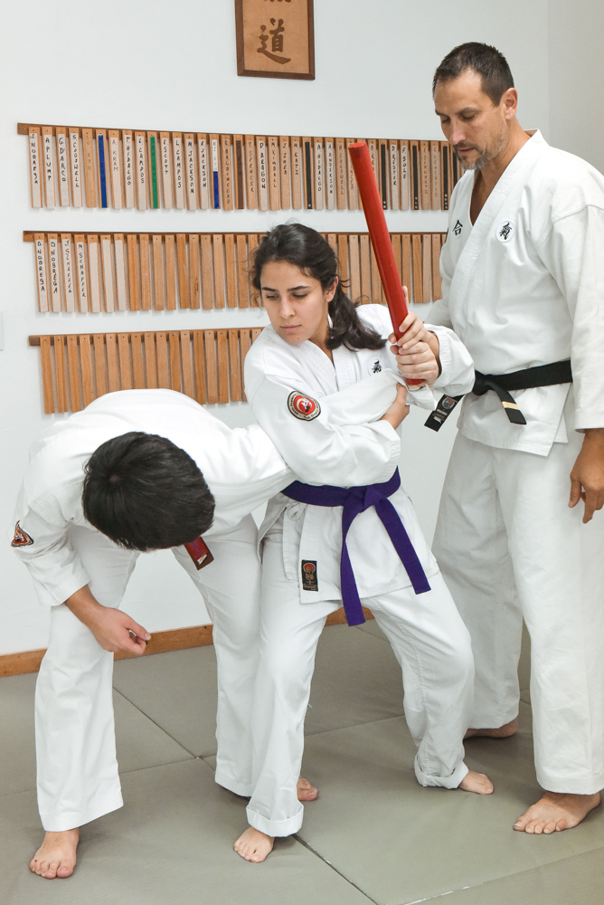 An NGA Black Belt is instructing a student to disarm a baton attack with an Arm Bar application.