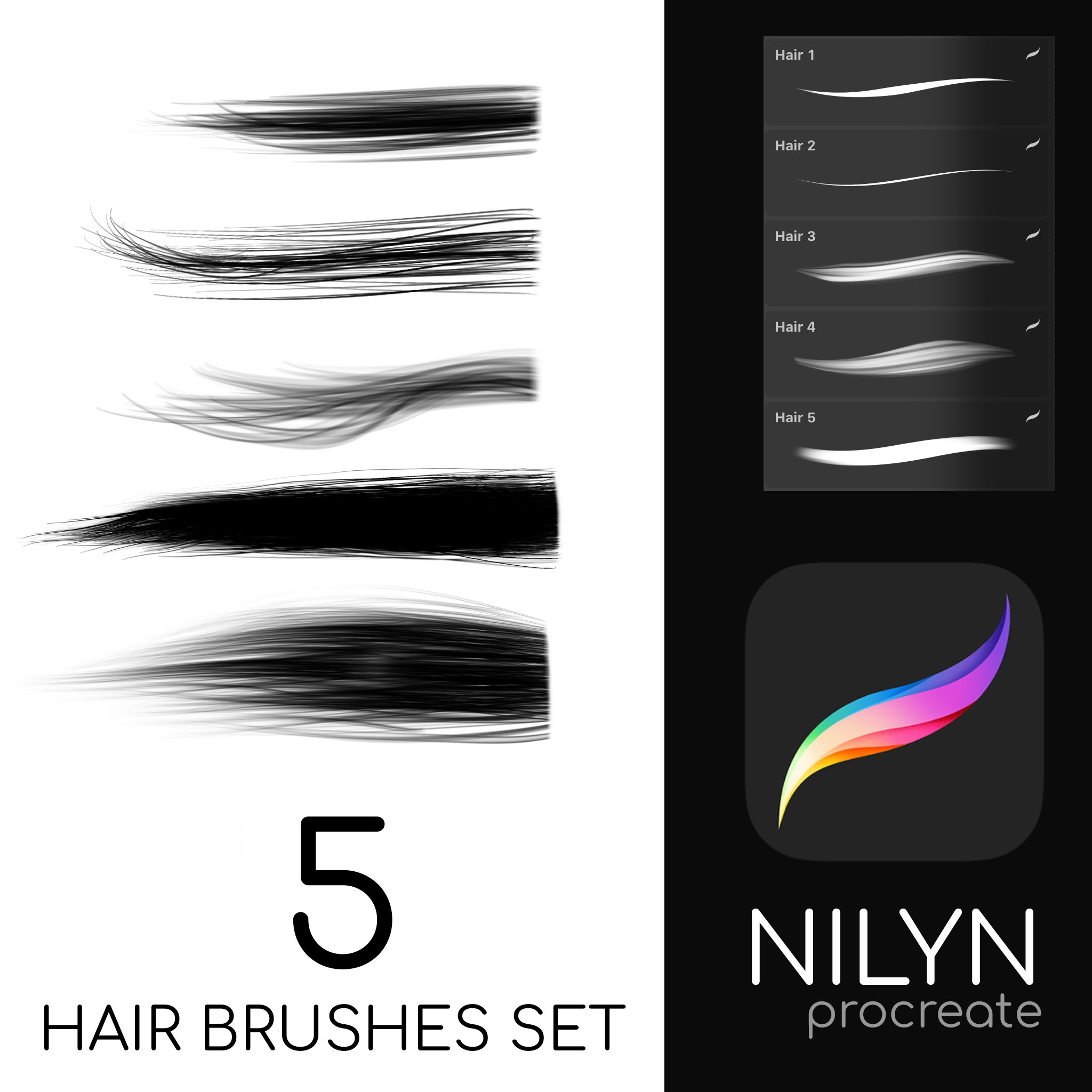 Nilyn Procreate - FREE HAIR brushes pack