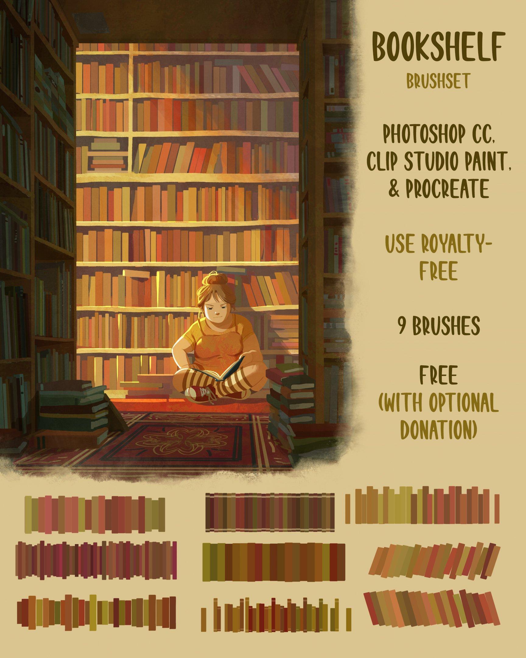 Bookshelf Brushset (Photoshop, CSP, Procreate)