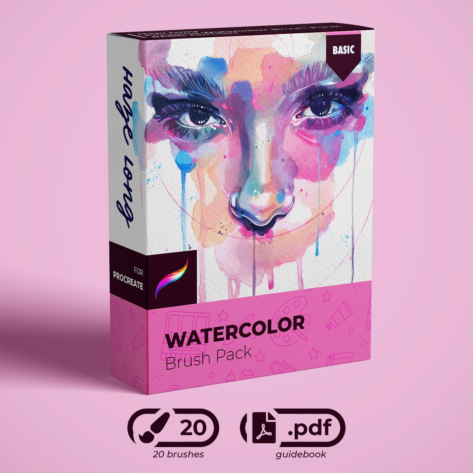 Haze Long Procreate Watercolor Brush Pack