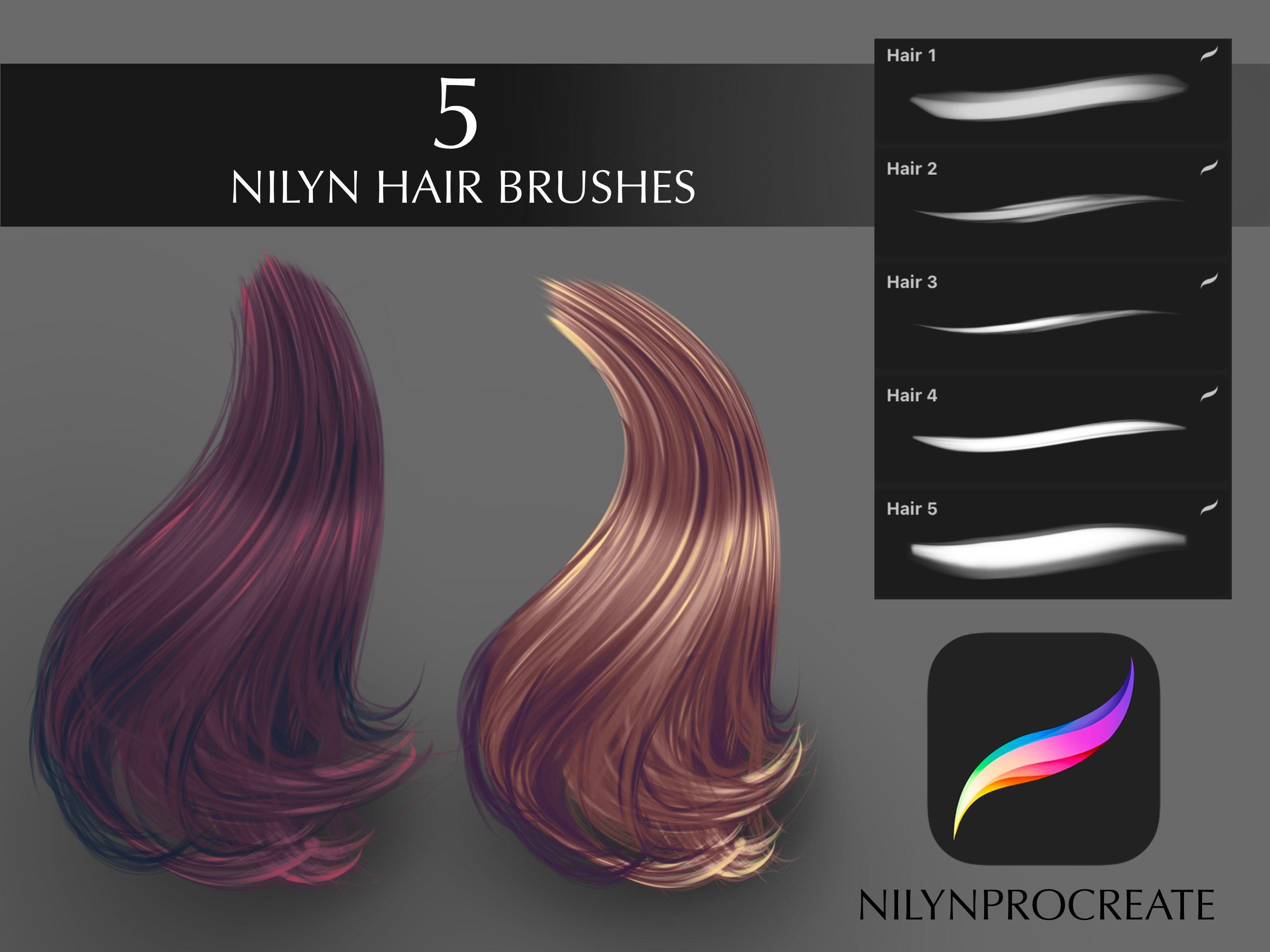 Nilyn Procreate - 5 Hair Brushes set ver.2 FREE