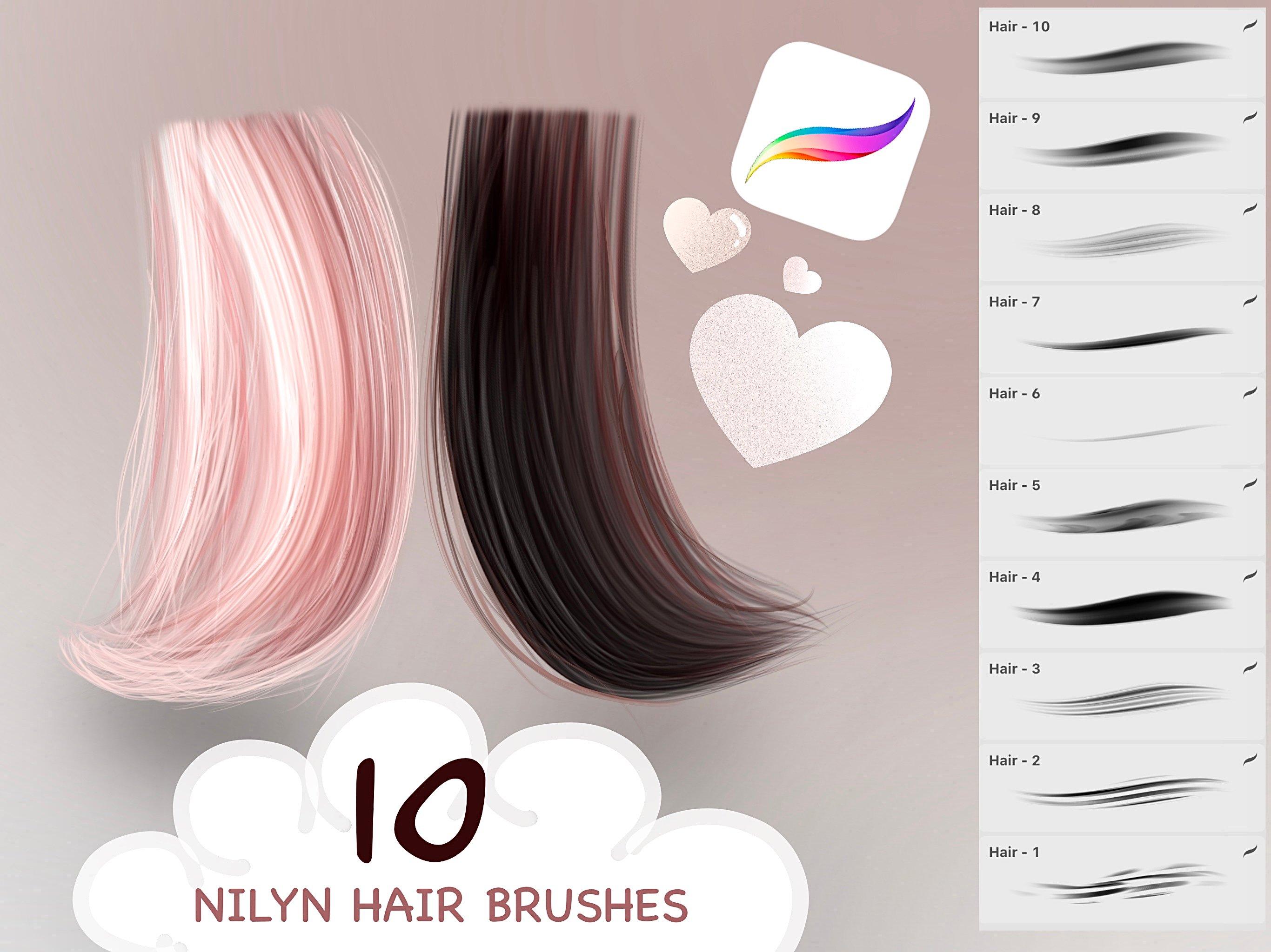 Nilyn Procreate - 10 Hair Brushes set ver.3 FREE