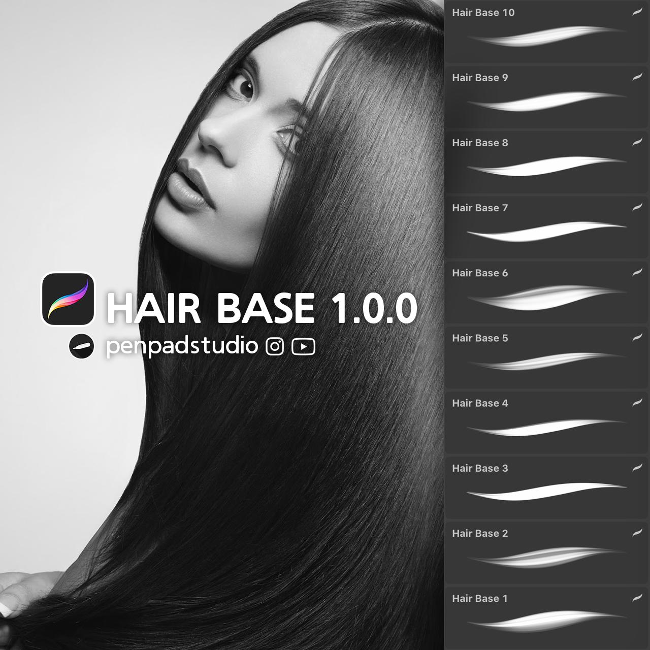 FREE Procreate Brushes - HAIR BASE 1.0.0