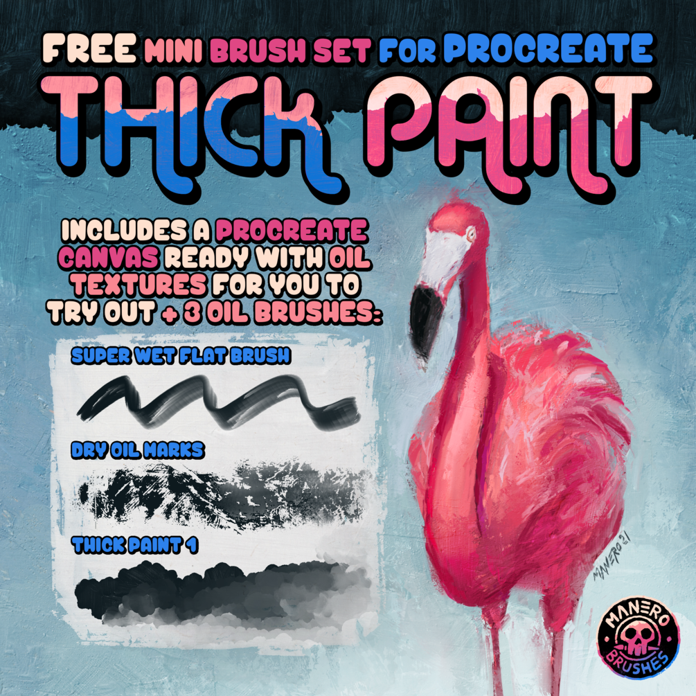 Thick Paint: An Oil Painting FREE Mini Brush Set for Procreate