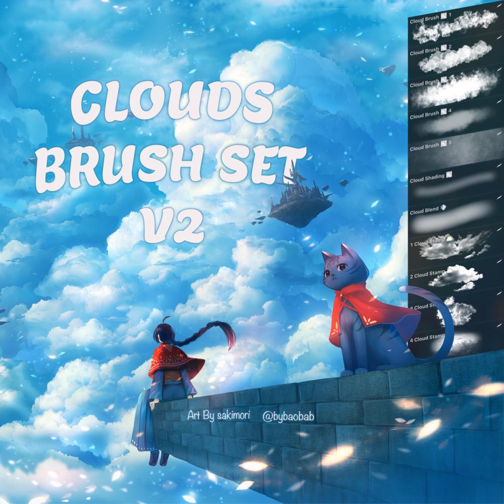 FREE Clouds Brush Set V2 for Procreate!