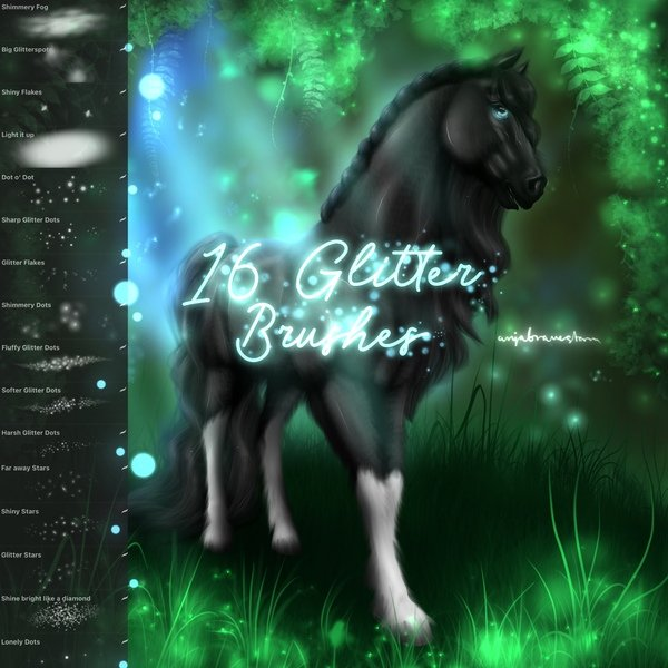 16 FREE Glitter Brushes for Procreate app by Anja Bravestorm