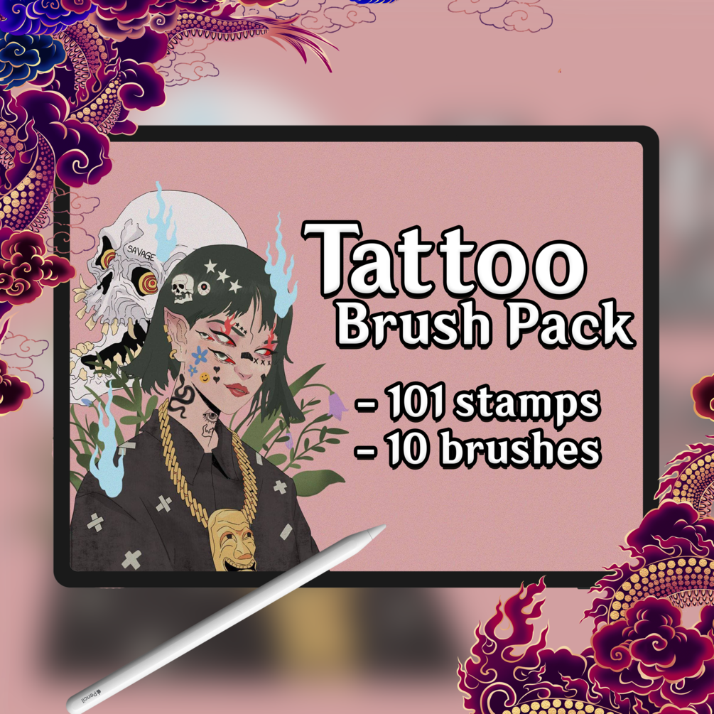 Free Tattoo brush pack V2 for procreate!