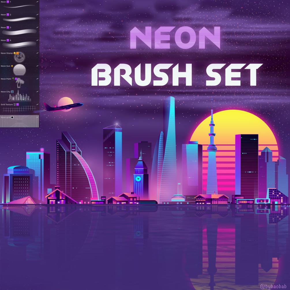 FREE Neon Brush Set for Procreate!
