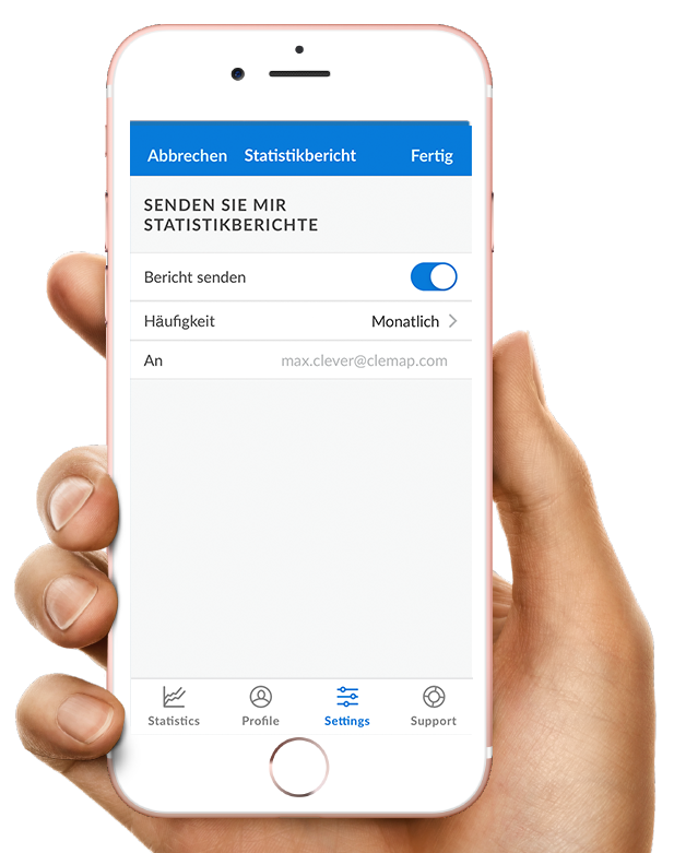 Kundenportal CLEMAP App Statistikberichte