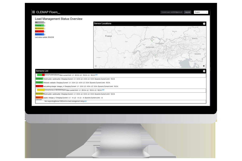 Kundenportal CLEMAP Floem Übersicht über Elektroladestationen