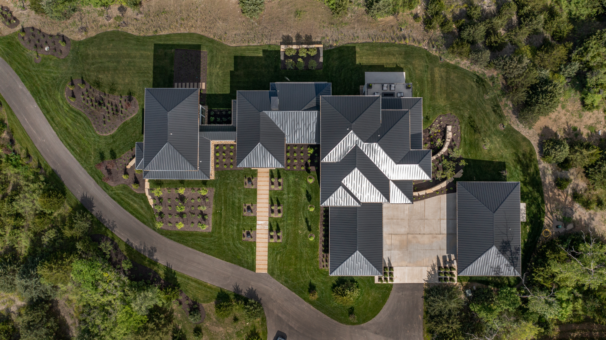 Aerial view of a modern home