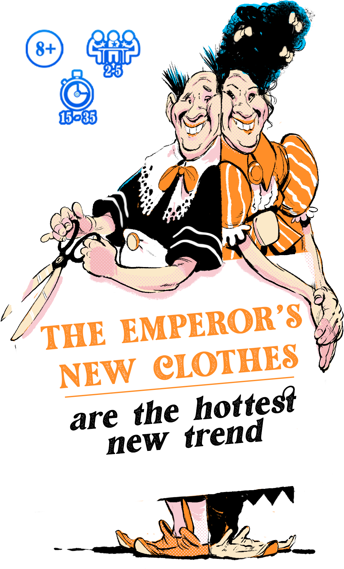 """Tailors holding """"The Emperor's New Clothes"""" sign"""