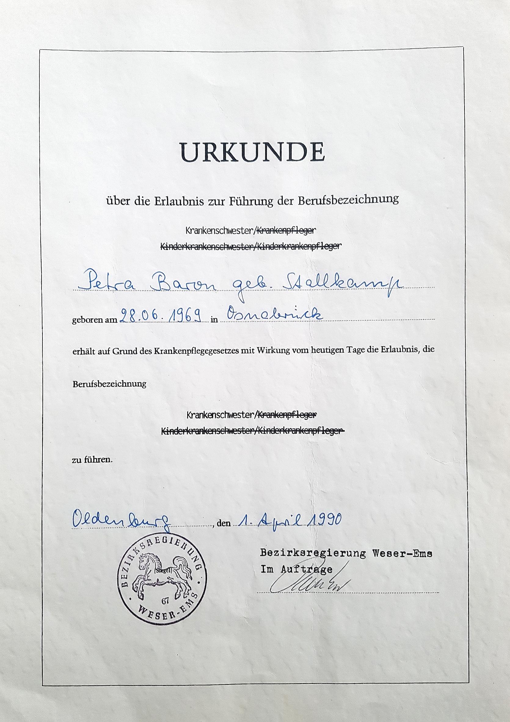 Urkunde zum Heilpraktiker